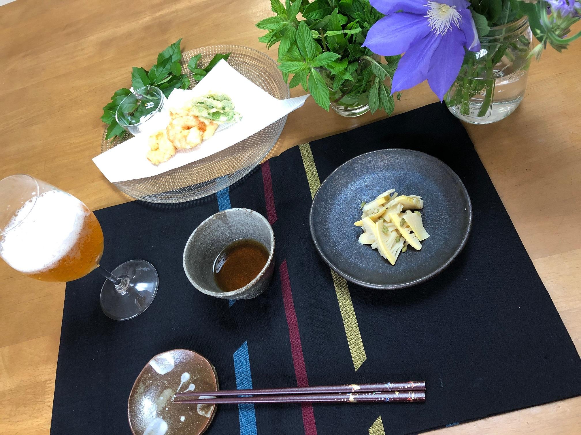 甘くないタケノコの山椒煮と天ぷら2種(小エビ・スナップエンドウ)